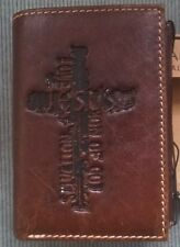 NEW Mens Christian Jesus Cross TEXT COLLAGE Brown GENUINE LEATHER TRIFOLD WALLET