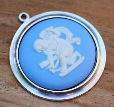 Vintage WEDGWOOD Blue Jasper Silver Cameo Pendant Jewellery Jasperware 1977