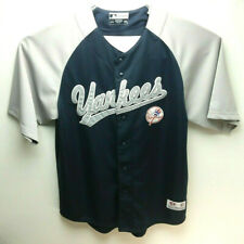 New York Yankees Navy Blue Button Up Stitched Jersey Size Large 42-44 True Fan