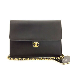 CHANEL CC Logo Push Lock Brown Leather Chain Shoulder Bag/71240
