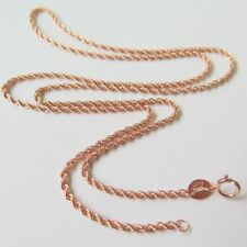 Au750 Solid 18k Rose Gold Necklace 17.7inch Women 1.5mm Beauty Rope Link Chain