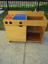 Vintage Creative Playthings Wood Kitchen stove sink cabinets  Very Cute