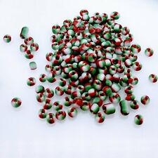12/0 Glass Seed Beads, Opaque Green White & Red Color Seep Christmas