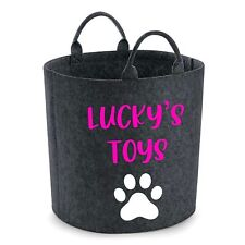 Personalised Pet Toy Storage Bag Basket Paw Grey or Charcoal, Cat Toys Dog Toys