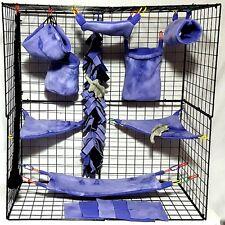 Purple Tie Dye * 15 PC Sugar Glider Cage set * Rat * double layer Fleece