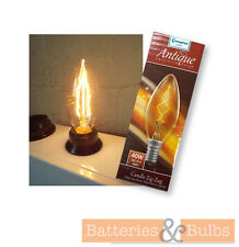 x2 40w SES Clear Candle Bulb Decorative Antique Zig Zag Filament Light Bulbs