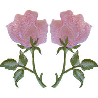 Pair of Pink Roses Patches Iron On / Sew On Embroidered Rose Flower Patch Badge