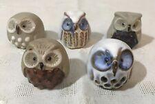 5 SMALL DECORATIVE POTTERY OWL ORNAMENTS. NO MAKER'S MARK