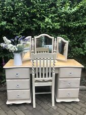Vintage Pine Shabby Chic Pedestal Dressing Table & Chair & Mirror In Annie Sloan
