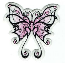 Iron On Patch Embroidered Applique - Large - Faded Pink/White - Tribal Butterfly