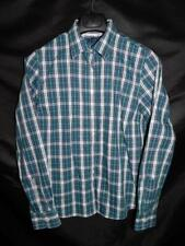 Lands End 14 Green Blue Pink Plaid Shirt No Iron Pinpoint Oxford Cotton lg
