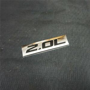 1PC Chrome Black 2.0L Badge Sticker Emblem Metal Coupe Motors Sedan Edition Auto