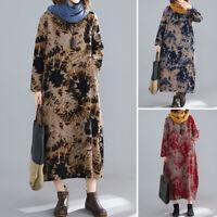 UK Women Vintage Casual Loose Long Sleeve Floral Printed Kaftan Baggy Midi Dress
