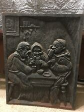 """Vintage 21""""x 16! Heavy Cast Iron Bar Plaque Sign Monks Drinking Late 1800's"""