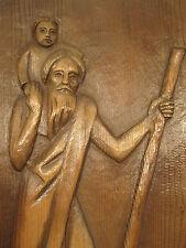 Christophorus-Relief, handgeschnitzt, Holz, braun gebeizt, ca.31 x 55,5 x 2,5 cm