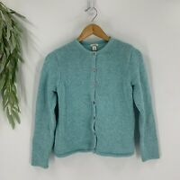 L.L.Bean Womens Chunky Knit Cardigan Sweater Size Small Button Down Casual Blue