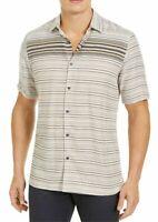 Alfani Mens Shirt Beige Size Medium M Button Up Stripe Short Sleeve $55 #481