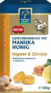 (12,90€/100g) Manuka Health Honig Lutschbonbons Ingwer & Zitrone MGO 400, 100g