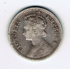 1891 India 1/4 Quarter Rupee silver coin : 2.8g