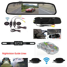 Wireless 4.3'' TFT-LCD Mirror Monitor+Nightvision Rear View Backup Camera System