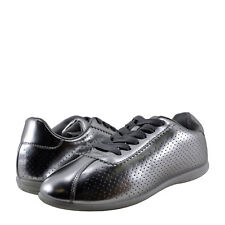Womens Shoes Qupid Paz 01 Metallic Perforated Lace Up Sneaker Silver *New*