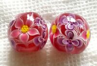 10pcs exquisite handmade Lampwork glass beads red flower 15mm