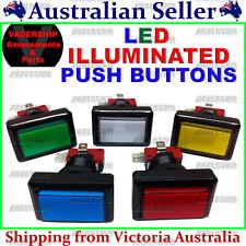 New: Rectangular LED - ILLUMINATED Buttons, Lock nut & Micro Switch- Arcade/Mame