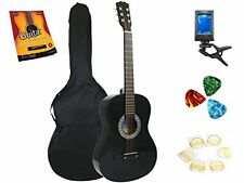 Star Acoustic Guitar 38 Inch, Bag, Tuner, Strings, Picks, Beginner Guide, Black