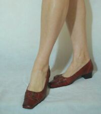 Ladies Red Court Shoes Low Block Heel Real Leather Sibille Size 5
