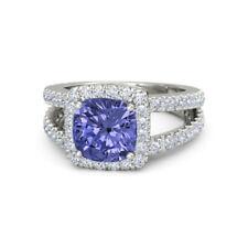 2.77 Ct Diamond Natural Blue Tanzenite Gemstone Ring 950 Platinum Rings Size 4 5