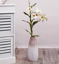 Orchidee Dendrobium Rispe Zweig künstlich Blume Blüten Deko weiß grün 75 cm
