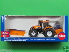 1:50 Siku Super Serie 2940 New Holland Traktor mit Räumschild + Salzstreuer