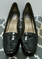Calvin Klein Women's Black Patent Leather Loafer Wooden Heel Signature Shoes 8.5