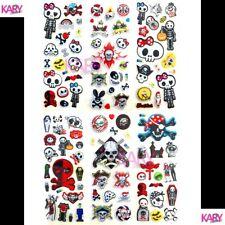 6 Sheets Cute Skulls Halloween Supplies Scrapbooking Bubble Stickers Emoji Toys