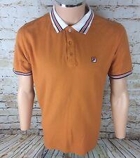VINTAGE anni'90 FILA WHITE LINE POLO T-shirt girocollo arancione SZ Medium/M DA UOMO