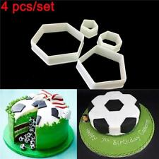 4pcs Hexagon Football Plastic Cookie Cutter Sugar Fondant Cake Decoration Mold F