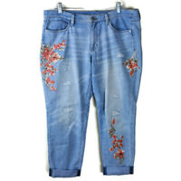 White House Black Market Girlfriend Crop Pants Jeans Size 12 Floral Embroidered