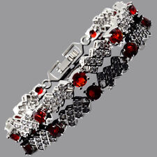Tennis Bracelet 18K White Gold Plated Round Cubic Zirconia Red Ruby