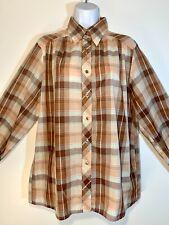 vintage 1970s Maverick Western plaid Peach Brown button Front l/s shirt Xl Volup
