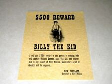 BILLY THE KID  WANTED POSTER   REPRODUCTION ON 22LB. PARCHMENT PAPER $ 3.49