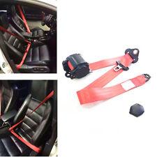 Red Retractable 3 Point Seat Belt Lap&Diagonal Belt Car Safety Seat Lap Belt Kit