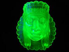 Green Vaseline glass toothpick holder uranium Indian head chief native American