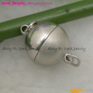 10mm White Gold Plated Magnet Ball Clasp Beads Findings for Jewelry Making DIY