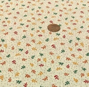 Tiny Tossed Leaves (Green Gold & Brown)Dotted Cream*BH Group*100% Cotton Remnant