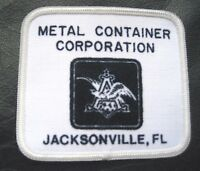 "Metal Container Corp Embroidered Sew On Patch Anheuser Busch 3 1/4"" x 2 3/4"""