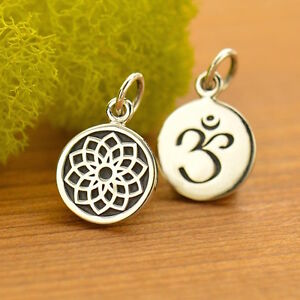 925 Sterling Silver Etched Crown Chakra Charm Yoga Jewelry pendant necklace 1742