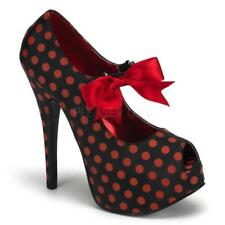 *** Bordello Teeze-25 red polka dots peep toe platform pumps stiletto heels 8