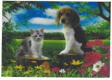 cat and dog 3D Lenticular Holographic Stereoscopic Picture Wall Art