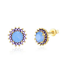 Yellow Gold Plated Earrings Stud AAA Zirconia Opal Blue Push Back Clasp L509