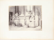 ALBUMEN PHOTO OF QUINTILIENS GALLERY W/ BEAUTIFUL STATUES - ROME, ITALY